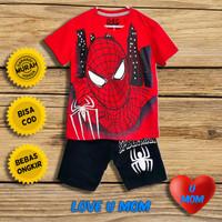 Loveumom Baju Setelan Anak Laki Laki Murah Spider Blg Merah 1-10 Tahun - 2 Tahun
