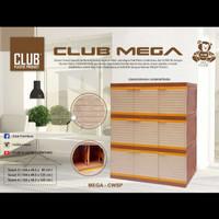 Lemari Plastik Club Mega 3 Susun 9 Pintu Coklat
