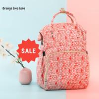 Tas Susu Popok Bayi Anti Air Diaper Bag Backpack USB Port -Orange Town