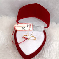 CP1689F221F cincin emas asli inisial nama huruf V abjad full permata