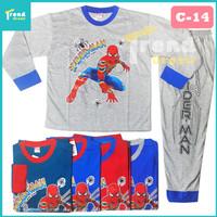 Piyama Anak 7-13 tahun / Baju Tidur Anak Laki Laki / bisa COD - 11-12 Tahun, C-14 Hijau