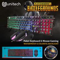 Keyboard dan mouse gaming unitech battlegrounds rgb, 2 in 1