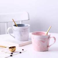 marble mug premium - coffee mug gelas marbel Mr Mrs harga satuan - Abu-abu, Bentuk U
