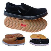 sepatu pria Vans slip on coklat gum slop kasual murah tanpa tali - hitam polos, 39