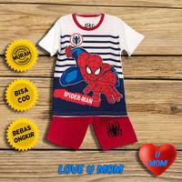 Loveumom Baju Setelan Anak Laki Laki Murah Spider Stp Putih 1-10 Tahun - 2 Tahun
