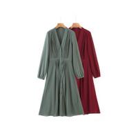 Baju Dress maxi sifon plisket v neck merah / hijau import premium