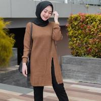 Slit Tunik Rajut Wanita / Sweater Rajut / Baju Rajut Tunik Wanita