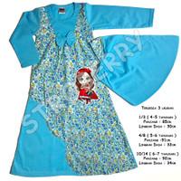 Gamis Anak Baju Muslim Murah Hijab Perempuan - kode 32 - 4-5 taunan, Biru