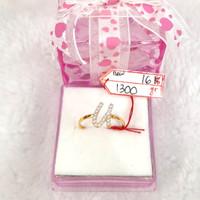 CP1690F304F cincin emas asli inisial nama huruf U abjad full permata