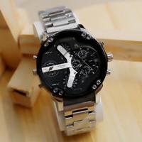 Jam Tangan Fashion Pria Dieeseel Dual Time D52mm Rantai Stainless - Silver Hitam