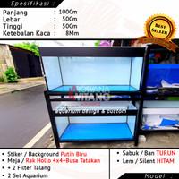 Aquarium Kaca 100x50x50 8mm Full Stiker Dan Rak Aquarium 2 Susun Hollo
