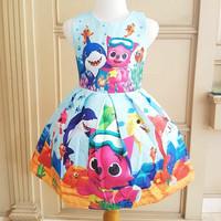 tokyoberry BABY SHARK DRESS BLUE baju anak perempuan pink fong fox