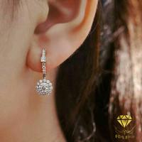 Anting Giwang Asli Emas Berlian Eropa Original Natural Diamond Putih