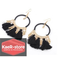 Daily Earrings Anting Fashion Rumbai Wanita Pesta - Hitam
