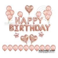 Paket Dekorasi Balon Ulang Tahun / Balon Happy Birthday Set Rose Gold