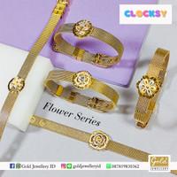 Gelang tali emas kuning kadar 700 70% tali clocksy flower series - Sunflower white