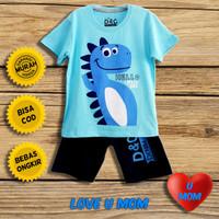 Loveumom Baju Setelan Anak Laki Laki Murah Dino Cute Biru 1-10 Tahun
