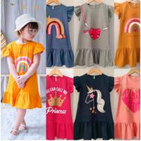 Baju Dress Kaos Anak Balita Perempuan Cewek Bahan Katun Umur 1-5 Tahun