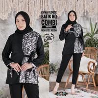 Baju Atasan Wanita Batik Kombinasi Terbaru - Hitam, M