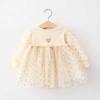 dress anak import lengan panjang PINK, CREAM umur 1 - 3,5 tahun.