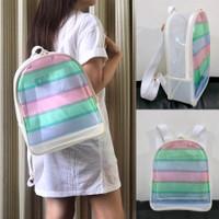 Tas Ransel Mini Transparan Pelangi Sekolah Anak Goodie Bag Ultah Mika