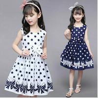 baju dress anak perempuan ribbon motif polkadot usia 7 8 9 tahun