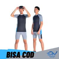 setelan baju renang pria dewasa set baju renang dan celana renang pria - Biru, XL