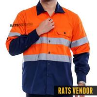 Wearpack Safety Kemeja Lapangan Proyek Rats Vendor Warna Orange Navy
