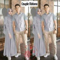 Baju Gamis Couple pasangan suami istri Couple Cape Violana bhn Moscrep