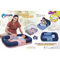 Baby Joy Kasur Bayi Kolam Sofa + Kelambu Pinguin Series - BJK 4017 - Merah Muda
