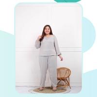Setelan Big Size Celana Panjang Wanita Stretch Jumbo Set 1840 Sherly - Soft Green