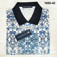 Kaos Polo Pria Lengan Motif Batik Biru Miller Neuman 100%Katun/100%ORI - M