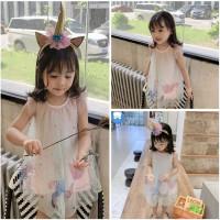 Dress Anak Unicorn Gliter Star Plus Free Bando - Dress + Bando, 140
