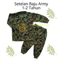 Setelan Baju Anak Laki-Laki Cowok 1-2 Tahun Lengan panjang Motif Army