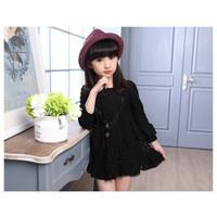 DRESS BRUKAT ANAK HITAM dress pesta import anak dress lace hitam - Hitam, 110