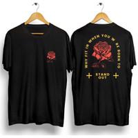 Kaos Pria Distro Roses Stand Out OP099 Fashion Pria Baju Pria - Hitam, L