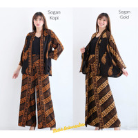 Setelan Batik Wanita Cardigan Celana Kulot Wanita - PEACOCK Parang