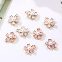 Enamel Charm Bandul Bunga Sakura Untuk Anting Gelang Kalung DIY