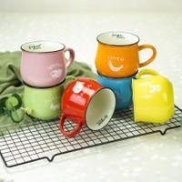 Gelas mug keramik motif animal dapur - Biru