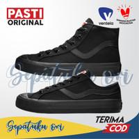 Sepatu Sekolah Ventela Public High Low Full All Black Hitam Original