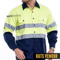Wearpack Safety Kemeja Proyek Rats Vendor Warna Hijau Stabilo Navy
