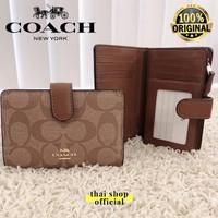 (100% ORIGINAL) COACH Medium Wallet Bifold Compact Signature Mahogany - Khaki