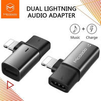 MCDODO Dual USB Lightning Iphone 7 8 Plus X Xr Audio Adapter Splitter