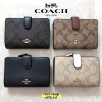 (100% ORIGINAL) COACH Medium Wallet With Corner Zip Signature - Pilih Warna