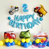 Set paket balon dekorasi mobil truck birthday ulang tahun car HBD