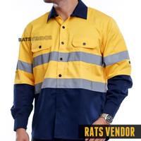 Wearpack Safety Kemeja Proyek Lapangan Rats Vendor Warna Kuning Navy
