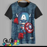 kaos anak superhero baju anak superhero captain america (1-12 tahun)