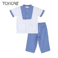 TORIO Koko Muslim Blue Checkered Set - Baju Koko Anak Laki-laki