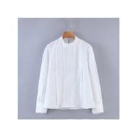 Baju atadan wanita blouse lengan panjang putih polos trim import bkk