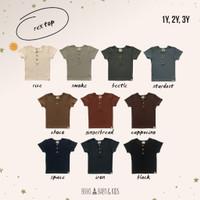 Rex Top Kaos Anak Bahan Reeb / Rib Boho Baby / Top Button Reeb 1-4Year